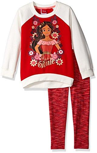 "Disney Little Girls' 2 Piece Elena of Avalor Fleece Sweatshirt and Space Dye Legging Set, Red ""Rule"""