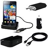 5in1 Set für Samsung / Dockingstation + Ladekabel / Tischladestation Ladestation Cradle / Dock / Basisstation / Ladekabel Ladegerät Charger Netzteil / 2x micro USB 2.0 Datenkabel mit Line OUT / KFZ Auto Ladekabel / für Samsung S6102 GALAXY Y DUOS DUALSIM / S5360 Galaxy Y / Nexus GT-I9250 / Galaxy S GT-I9000 / GT S8000 Jet / Star 3 / Gio GT-S5660 / Wave M GT-S7250 / Wave 533 GT-S5330 / Original Lanboo Zubehör Set / Kostenloser Versand