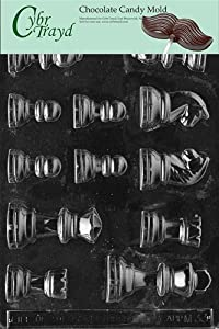 Cybrtrayd M033 Chess Pieces Chocolate Candy Mold with Exclusive Cybrtrayd Copyrighted Chocolate Molding Instructions