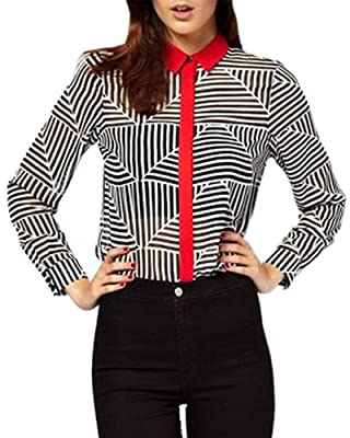 HaboZoo Womens Fashion Abstract Stripe Long Sleeve Blouse Large