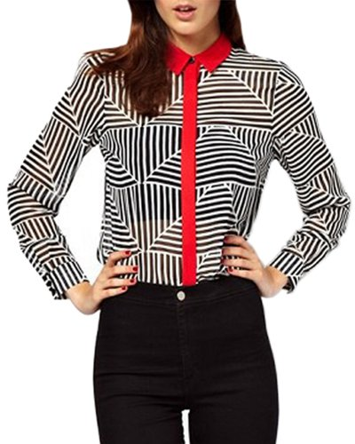 HaboZoo Womens Fashion Abstract Stripe Long Sleeve Blouse Medium