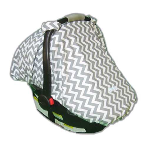 Fitted Car Seat Cover/Canopy Zig Zag (Grey) front-752594
