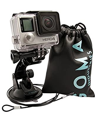 GOMA Industries Suction Cup Mount for GoPro Hero4 Hero3 Hero2 and Hero Cameras and camcorders SJcam SJ4000, SJ5000 and xiaomi Yi Bundled with Tether and Carry bag