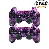 [2 Pack] Wireless Double Vibration Game Controller Bluetooth Sixaxis Gamepad Remote for PS3 Playstation 3 [Gift 2 Charging-Cable] (Universe)