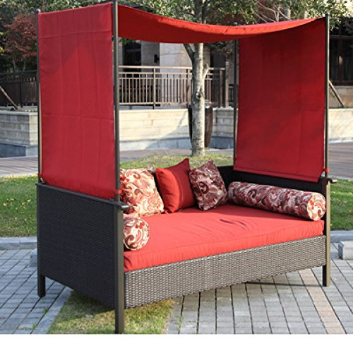 Beautiful Red Outdoor Day Bed Wicker Canopy Style Top