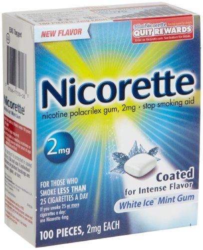 Nicorette Stop Smoking Aid 2 mg Gum, White Ice Mint - 100 ea