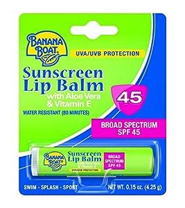 Banana Boat Sunscreen Aloe Vera with Vitamin E Broad Spectrum Sun Care Sunscreen Lip Balm - SPF 45, 0.15 Ounce (Pack of 24)