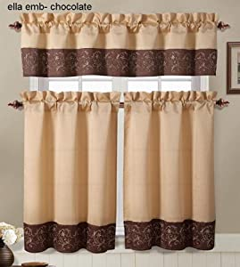 brown and gold embroidered kitchen window