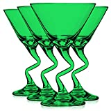 Libbey Emerald Green Z Shaped Stem Martini Glasses 9 oz. set of 4 - Additional Vibrant Colors Available by TableTop King