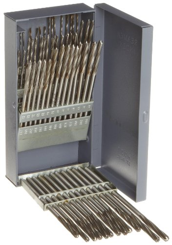 Alvord Polk 127-S-11 High-Speed Steel Chucking Reamer Set, Right Hand Spiral Flute, Uncoated Finish, 60-Piece, #1 - #60 Wire Sizes