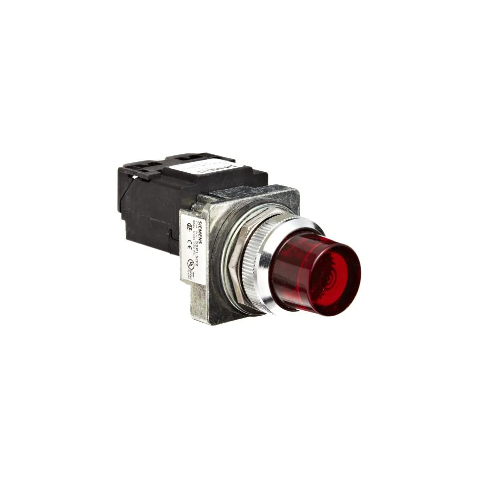 Siemens 52PL5G2 Heavy Duty Pilot Light, Water and Oil Tight, Glass Lens, Transformer, 6V 755 Type Lamp or 6V LED, Red, 120VAC Voltage