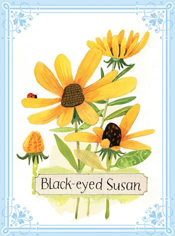 Eeboo Black-eyed Susan Flower Canvas Wall Art