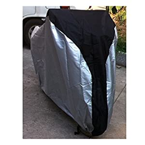 Exlight Bike Cover Polymer Fabric Extra Heavy Duty Bicycle Bike Cover Meshed Air Vents Mountain Road Electric and Cruiser Bikes As Well Durable Tamper Proof Weatherproof Black And Silver In Color by Exlight