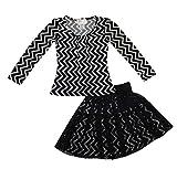 Blink Wear Little Girls' Long Sleeve Chevron Top & Lace Ballerina Skirt Set