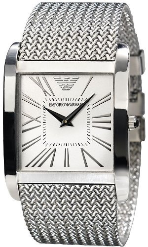 Emporio Armani Men's AR2014 Silver Stainless-Steel Quartz Watch with White Dial