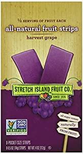 Stretch Island All Natural Fruit Strips, Grape, 8-Count Strips, 0.05 Ounces (Pack of 6)