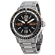 Seiko Black Dial Stainless Steel Mens Watch SRP347