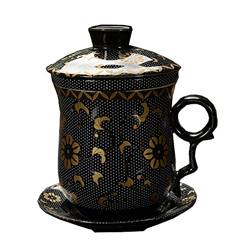ufengke®4-piece dehua ceramic tea cup with filter, saucer, and lid-black flowers pattern