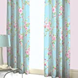 Canterbury Floral Pencil Pleat Lined Curtains, Multi, 66 x 72 Inch