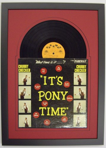 record album lp frame featuring red mat juke box style design and a