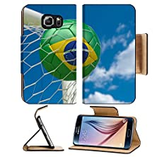 buy Msd Samsung Galaxy S6 Flip Pu Leather Wallet Case Brazil Flag And Soccer Ball Football In Goal Net Image 34479109