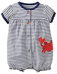 Carter\'s Baby Girls 1-piece Creeper (6 Months, Navy Stripe)