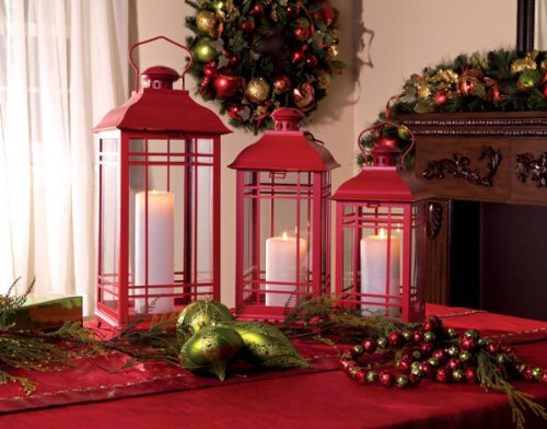 Set of 3 Crimson Red Multi-Sized Mission-Style Glass Pillar Candle Lanterns 20″