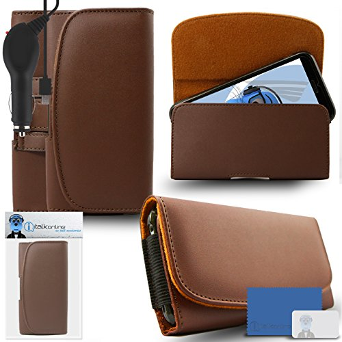 iTALKonline Samsung Galaxy A5 SM-A500G/DS Brown PREMIUM PU Leather Horizontal Executive Side Pouch Case Cover Holster with Belt Loop Clip and Magnetic Closure and 1000 mAh Coiled In Car Charger LED Indicator and Overload Protection  available at amazon for Rs.613