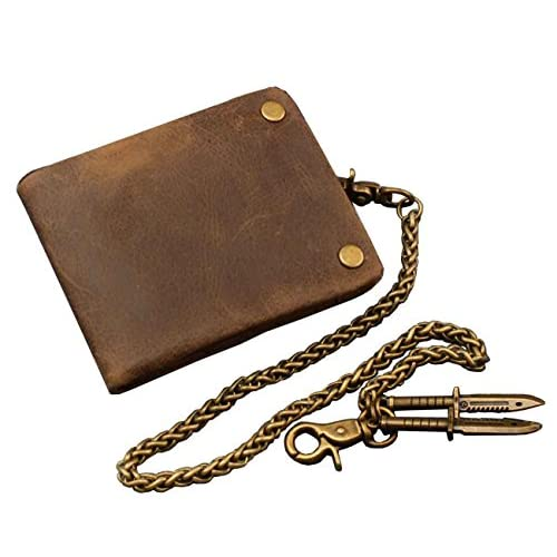 Punkman2000 Vintage Biker Motorcycle Real Leather Card Holder Wallet With chain