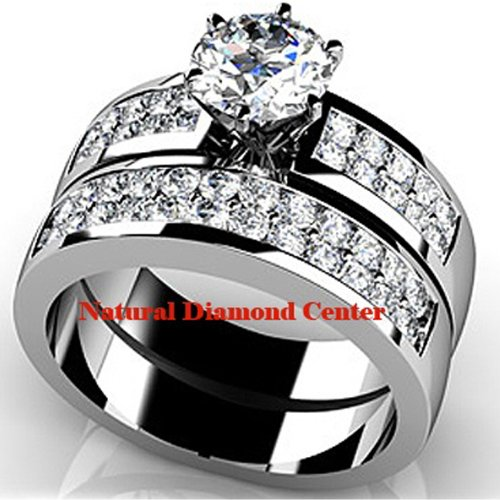 14k 3.80Ct Stunning Round Cut Diamond Wedding