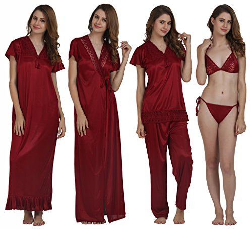 Miavii Women's 6 Piece Maroon Nighty set(1 Nighty+ 1 Robe + 1 Top + 1 Bottom + 1 Bra + 1 Panty)