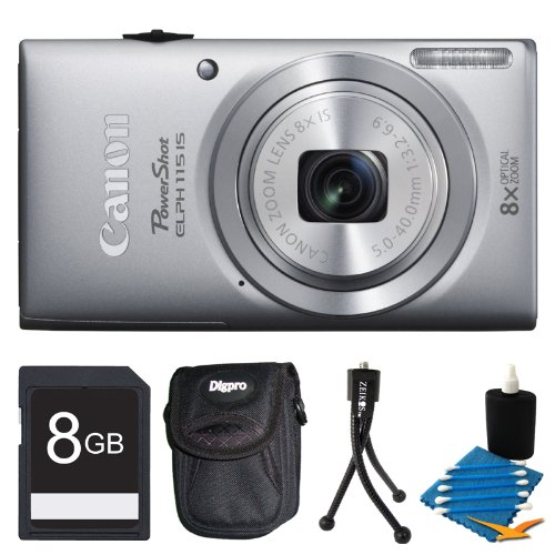 Canon Powershot ELPH 115 IS Silver Digital Camera 8GB Bundle – Includes camera, 8GB SD Memory Card, Ultra-Compact Digital Camera Deluxe Carrying Case, Flexible Mini Table-top Tripod, and 3pc. Lens Cleaning Kit Reviews