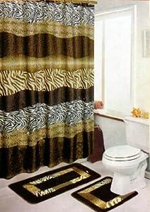 Amazon Com Brown Safari 15 Piece Bathroom Set 2 Rugs
