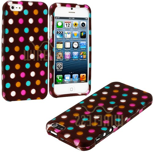 Mylife (Tm) Chocolate Brown And Ice Cream Dots Series (2 Piece Snap On) Hardshell Plates Case For The Iphone 5/5S (5G) 5Th Generation Touch Phone (Clip Fitted Front And Back Solid Cover Case + Rubberized Tough Armor Skin + Lifetime Warranty + Sealed Insid
