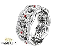 buy Natural Ruby And Diamond Promise Ring In 14K Yellow Gold Unique Floral Anniversary Ring Nature Inspired Band