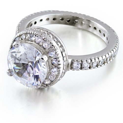 Bling Jewelry Sterling Silver CZ Pave Antique Legacy Promise Ring - 8