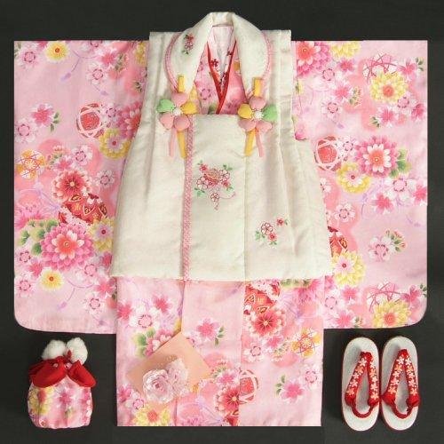 七五三着物3歳 女の子被布セット 夢想ブランド ピンク 被布ベージュ 桜刺繍 金彩 刺繍半衿付き 足袋付フルセット