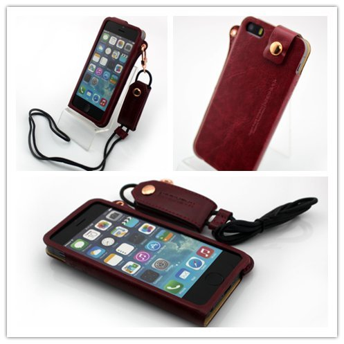 Nine States Ultra-Thin Pu Leather Back Cover Protection Shell High-End Business Type Case For Iphone 5 5G With Earphone Smart Cord Wrap & Hanging Neck Strap Color Varies Red