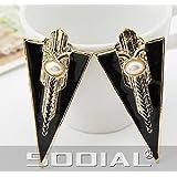 SODIAL(R) Pendientes Piercing de Oreja para Mujeres, Diseno de Triangulo Geometrico Negro con Perla