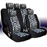 51j nWmYf7L. SL160  New and Unique YupbizAuto Brand Safari Zebra Print Universal Size Car Truck SUV Seat Covers Set High Quality Velour and Mesh Material Gift Set Smart Pocket Feature