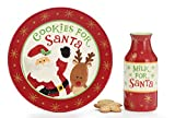 Cookies For Santa Christmas Gift Set with Plate and Milk Bottle - Red