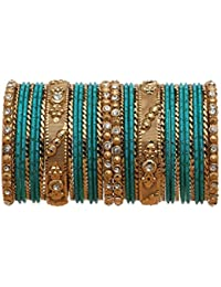 Bindhani Traditional Wedding Gold-Plated Turquoise Geen Bangle Set For Women