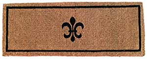 Entryways Black Fleur Di Lys Extra Thick Hand Woven Coir Doormat, 18 by 30-Inch