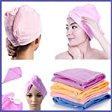 2Pcs Turbie Towel Hair Wrap Head Turban Twist Drying Cap Hat Loop Button Lady