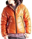 シレーフルジップ中綿ダウンジャケット ダウン パーカー 中綿ジャケット メンズ XXLサイズ オレンジ