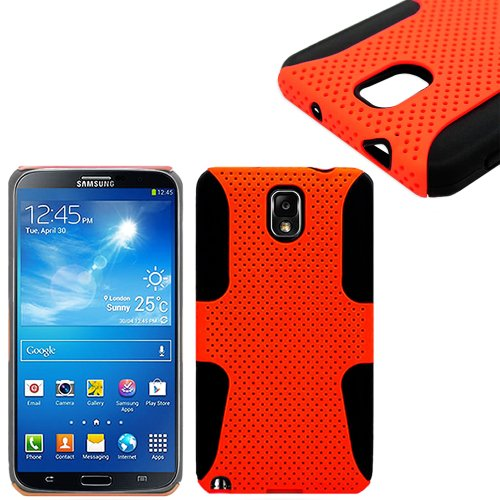 myLife TM Black Vibrant Orange Flexi Grip 2 Piece Mesh Armorsuit Tough Jacket Case for the Samsung Galaxy Note 3 4G Smartphone Fits Models N9000 - N9002 and N9005 External Mesh Fitted Hardshell Protector Internal Solft Silicone Flexible Easy Grip Bumper Gel Lifetime Warranty Sealed Inside myLife Authorized Packaging Only ADDITIONAL DETAILS ADDITIONAL DETAILS This 2 piece mesh and gel armor case has easy grip silicone sides that that prevent the case from slipping out of your hand - yet allow the case to slide easily in and out of your pocket