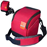 First2savvv high quality anti-shock red Nylon camera case bag for Nikon COOLPIX P500