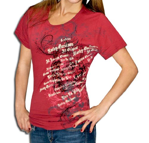 Harley-Davidson® Womens OE Text Red Skull Red Short Sleeve T-Shirt (Medium)