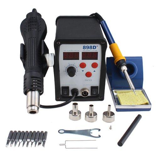 AGPtek SMD Rework Soldering LCD Digital Station Hot Air Gun Solder Iron Welder 11 Tips (Electronic Solderer compare prices)