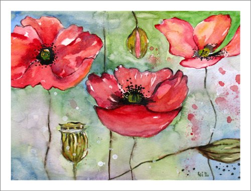 Poppy Art Prints Watercolor Artwork Pink and Red Poppies Paintings
